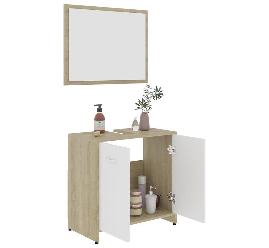 4-tlg. Badmöbel-Set Weiß und Sonoma-Eiche Spanplatte