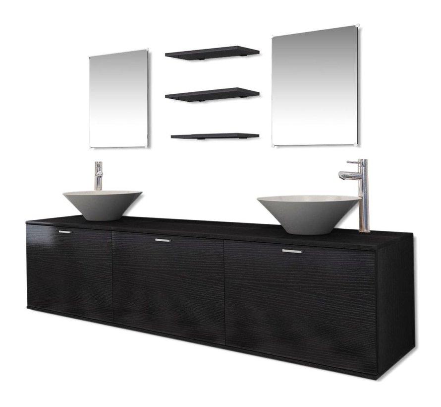 10-tlg. Badmöbel-Set mit Waschbecken und Wasserhahn Schwarz