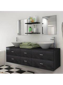 9-tlg. Badmöbel-Set mit Waschbecken und Wasserhahn Schwarz