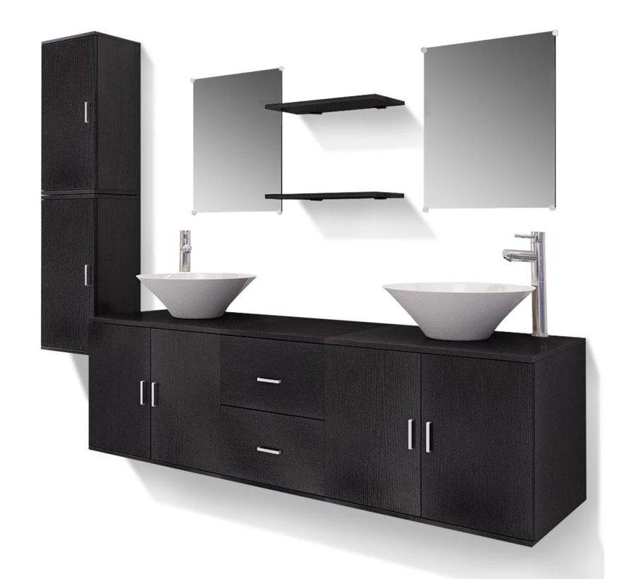 11-tlg. Badmöbel-Set mit Waschbecken und Wasserhahn Schwarz