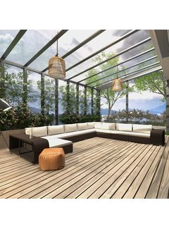 11-tlg. Garten-Lounge-Set mit Auflagen Poly Rattan Braun