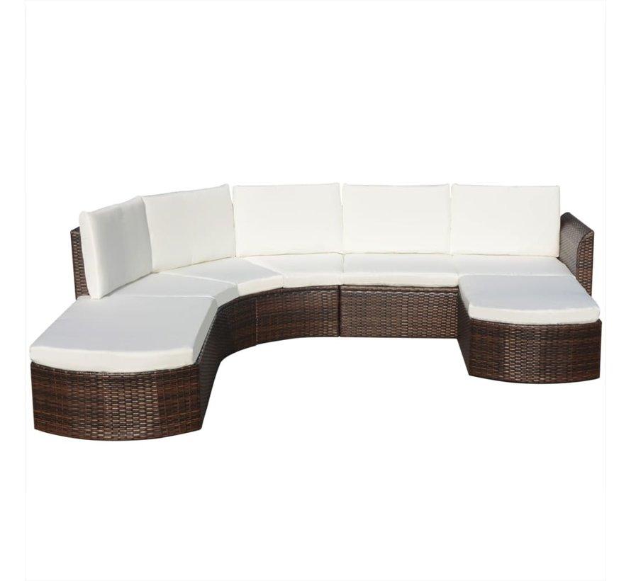 4-tlg. Garten-Lounge-Set mit Auflagen Poly Rattan Braun