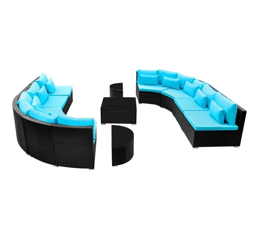 13-tlg. Garten-Lounge-Set mit Auflagen Poly Rattan Blau