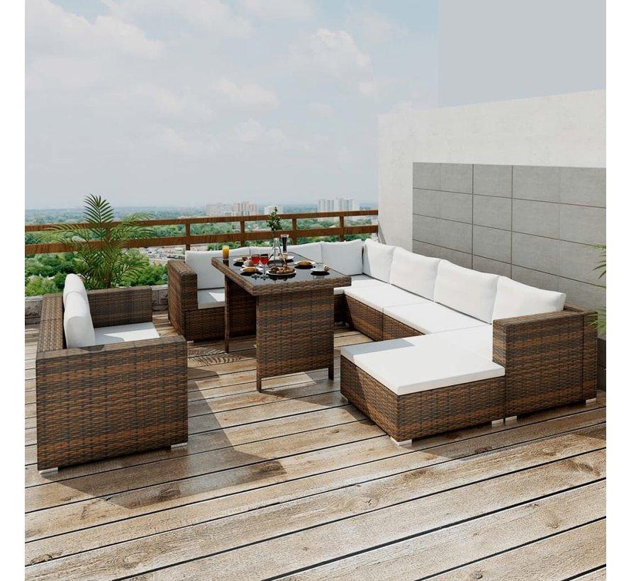 10-tlg. Garten-Lounge-Set mit Auflagen Poly Rattan Braun