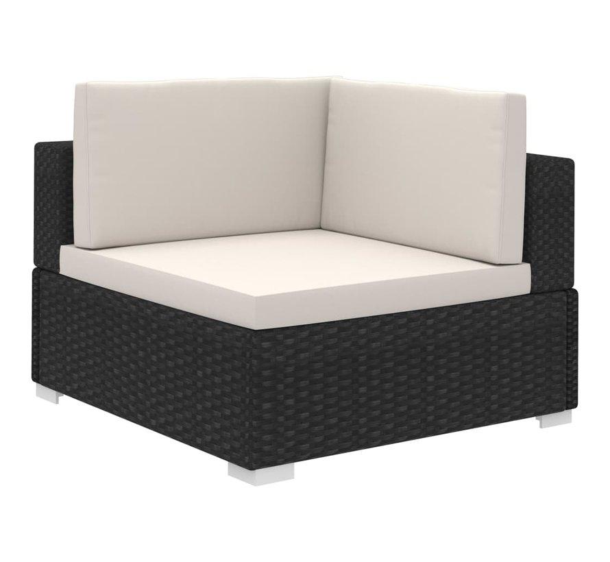 12-tlg. Garten-Lounge-Set mit Auflagen Poly Rattan Schwarz