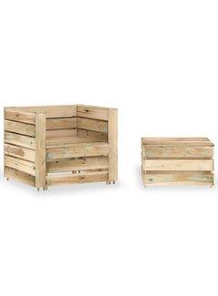 2-tlg. Garten-Lounge-Set aus Paletten Imprägniertes Kiefernholz