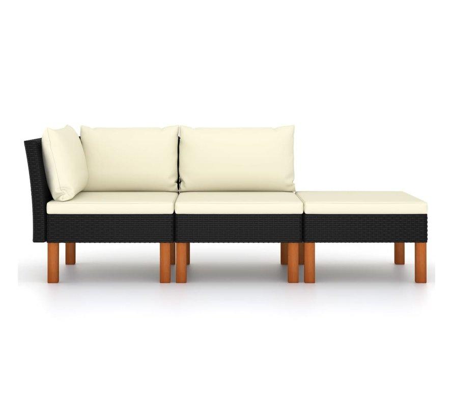 3-tlg. Garten-Lounge-Set Poly Rattan und Eukalyptus Massivholz