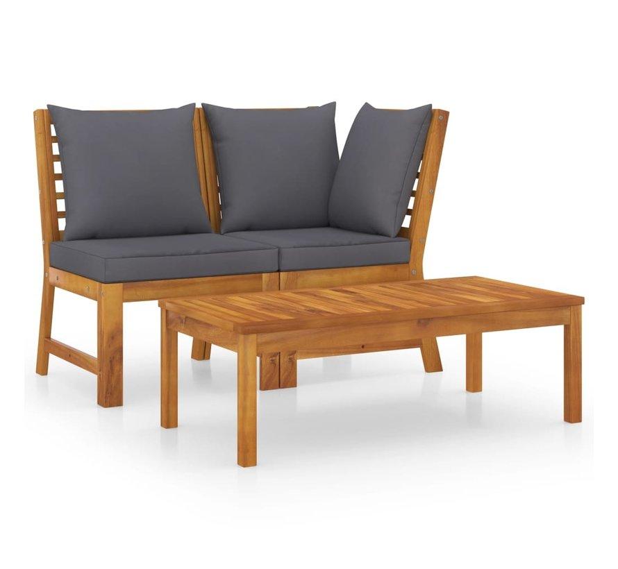 3-tlg. Garten-Lounge-Set mit Dunkelgrauem Kissen Akazienholz