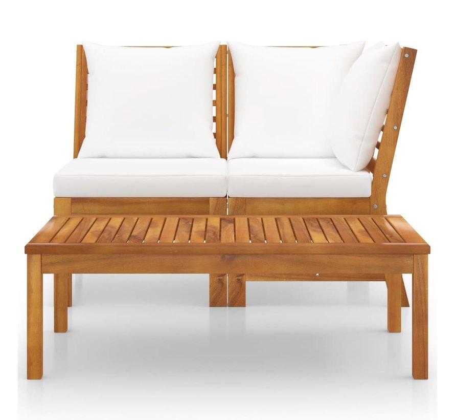 3-tlg. Garten-Lounge-Set mit Creme Kissen Akazie Massivholz