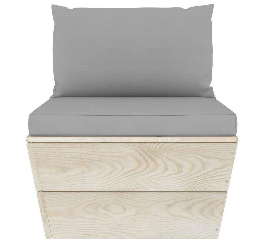 3-tlg. Garten-Sofagarnitur aus Paletten mit Kissen Fichtenholz