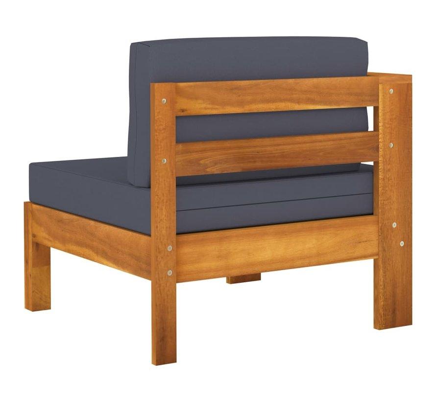 10-tlg. Garten-Lounge-Set mit Dunkelgrauen Auflagen Akazienholz