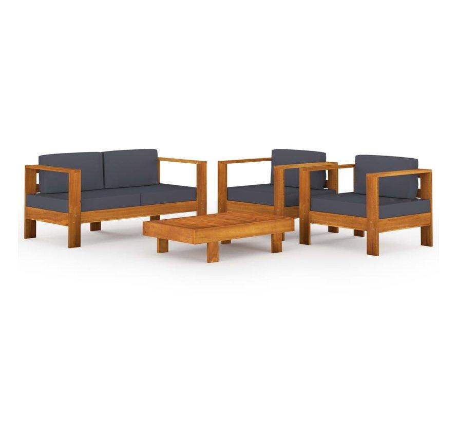 4-tlg. Garten-Lounge-Set Dunkelgraue Auflagen Massivholz Akazie