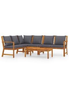5-tlg. Garten-Lounge-Set mit Auflagen Massivholz Akazie