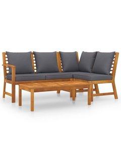 4-tlg. Garten-Lounge-Set mit Auflagen Massivholz Akazie