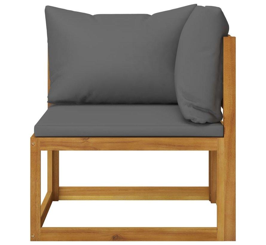 11-tlg. Garten-Lounge-Set mit Auflagen Massivholz Akazie