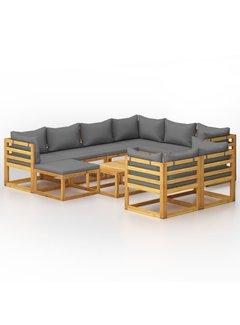 10-tlg. Garten-Lounge-Set mit Auflagen Massivholz Akazie