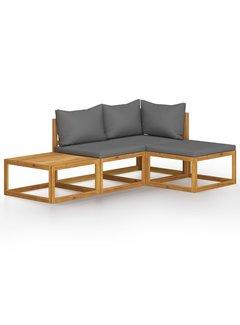 4-tlg. Garten-Lounge-Set mit Auflage Massivholz Akazie