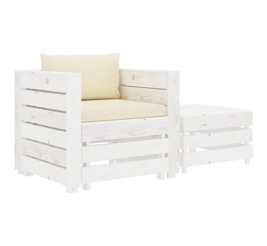 2-tlg. Garten-Lounge-Set mit Creme-Kissen Holz