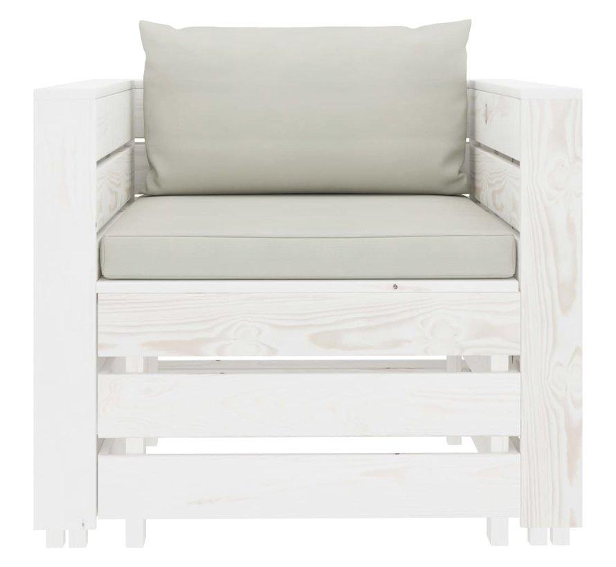 2-tlg. Garten-Lounge-Set mit beigen Kissen Holz
