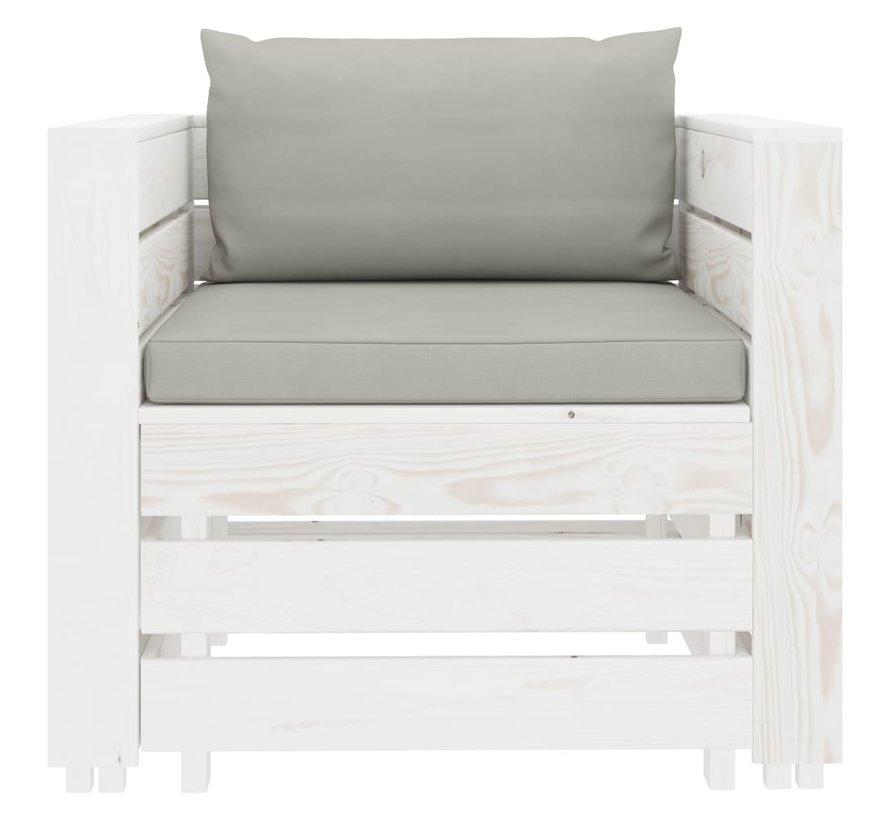 2-tlg. Garten-Lounge-Set mit Taupe-Kissen Holz