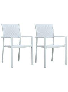Gartenstühle 2 Stk. Weiß Kunststoff Rattan-Optik