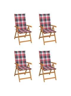 Gartenstühle 4 Stk. Rote Karomuster-Kissen Massivholz Teak