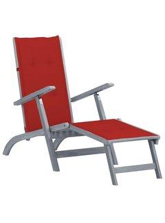 Liegestuhl mit Fußstütze und Auflage Massivholz Akazie