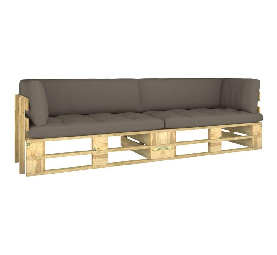 2-Sitzer-Palettensofa mit Kissen Grün Imprägniertes Kiefernholz
