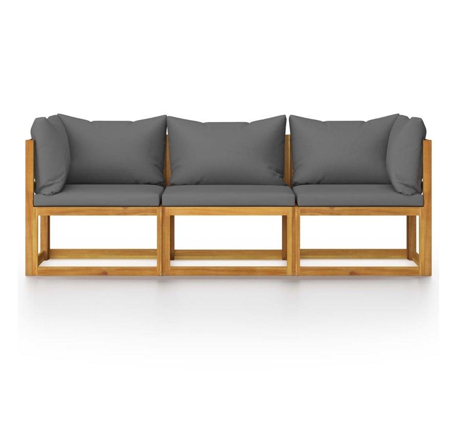 3-Sitzer-Gartensofa mit Auflage Akazie Massivholz