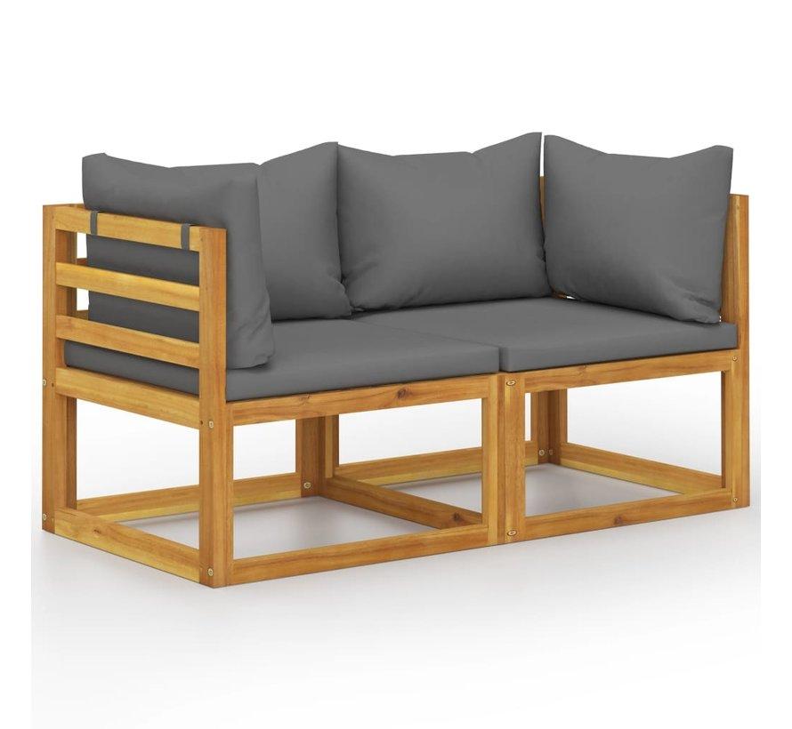 2-Sitzer-Gartenbank mit Dunkelgrauen Kissen