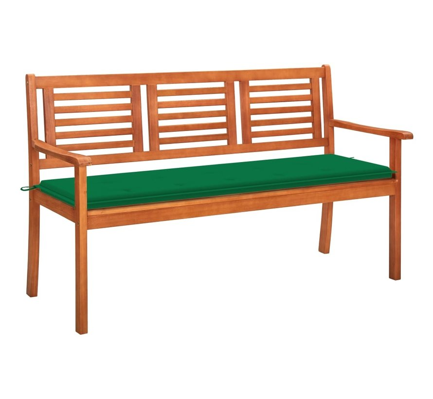 3-Sitzer-Gartenbank mit Auflage 150 cm Massivholz Eukalyptus