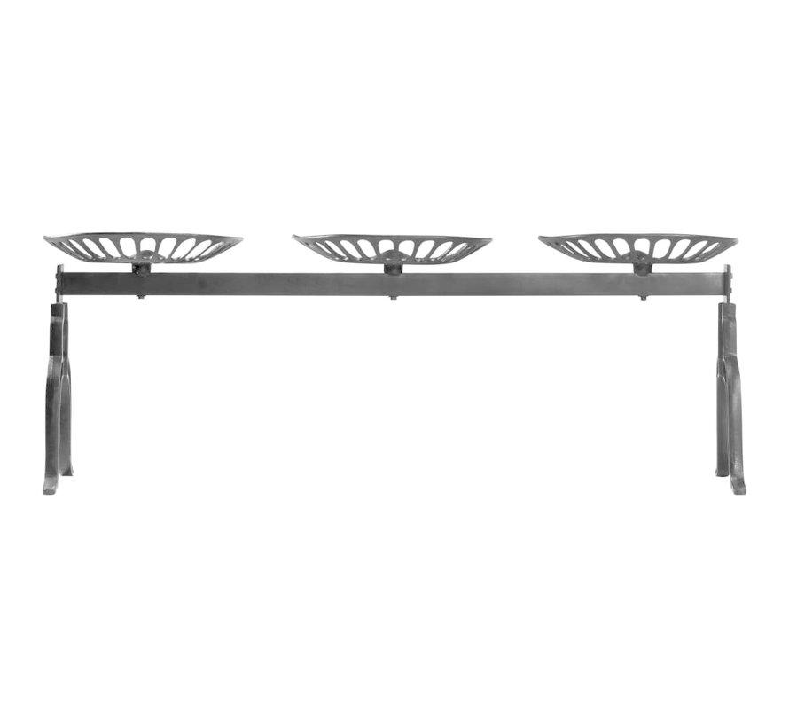 3-Sitzer-Bank 155 cm Schwarz Gusseisen