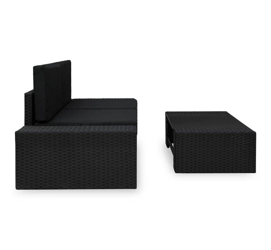 3-tlg. Garten-Lounge-Set Poly Rattan Schwarz