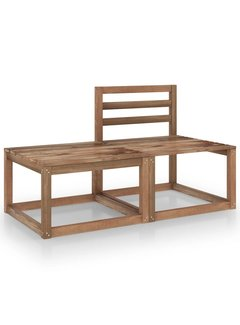 2-tlg. Garten-Lounge-Set Braun Imprägniertes Kiefernholz