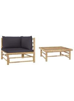 2-tlg. Garten-Lounge-Set mit Dunkelgrauen Kissen Bambus