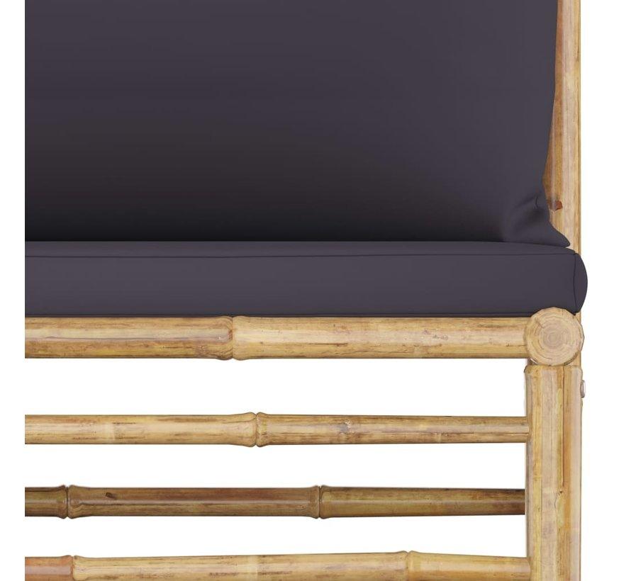 2-tlg. Garten-Lounge-Set mit Kissen Dunkelgrau Bambus