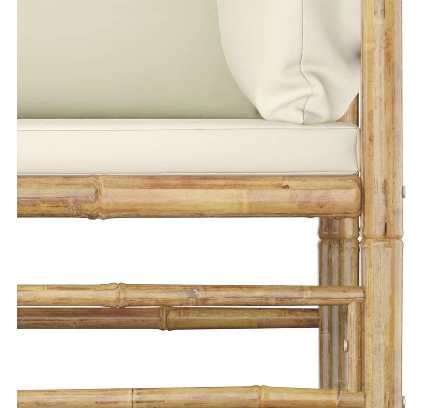 2-tlg. Garten-Lounge-Set mit Kissen Cremeweiß Bambus