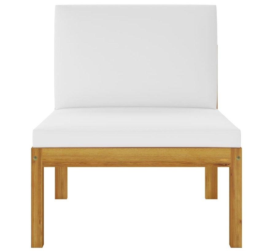 2-tlg. Garten-Lounge-Set mit Auflagen Akazie Massivholz