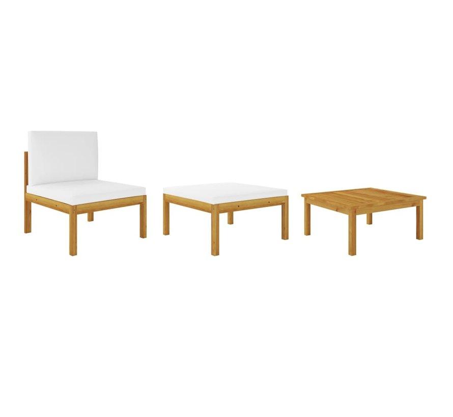 3-tlg. Garten-Lounge-Set mit Auflagen Akazie Massivholz