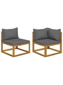 2-tlg. Sofa-Set mit dunkelgrauen Kissen Akazie Massivholz