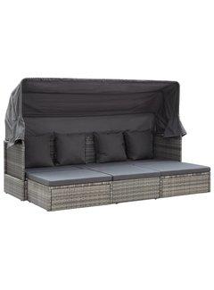 Gartenbett mit Dach Gemischt Grau 200 x 60 x 124 cm Poly Rattan