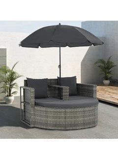 2-Sitzer-Gartensofa mit Auflagen und Sonnenschirm Grau Poly Rattan