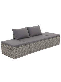 Gartenbett Grau 195×60 cm Poly Rattan