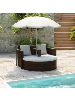 Gartenbett mit Sonnenschirm Braun Poly Rattan