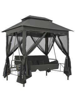 Gartenschaukel mit Bettfunktion und Dach 220×160×240 cm Stahl
