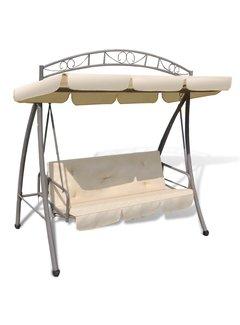 Hollywoodschaukel mit Bettfunktion und Dach Sandweiß