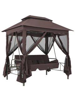 Pavillon Umwandelbare Schaukelbank Kaffeebraun