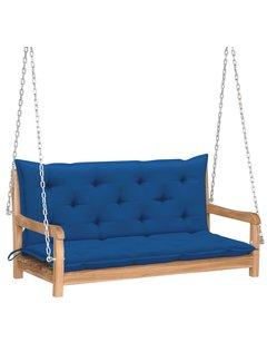 Hollywoodschaukel mit Blauer Auflage 120 cm Massivholz Teak