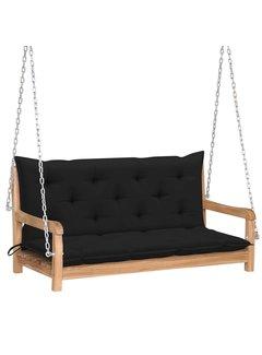 Hollywoodschaukel mit Schwarzer Auflage 120 cm Massivholz Teak