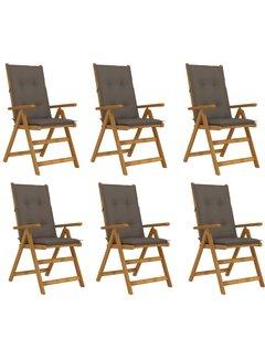 Klappbare Gartenstühle 6 Stk. mit Auflagen Massivholz Akazie